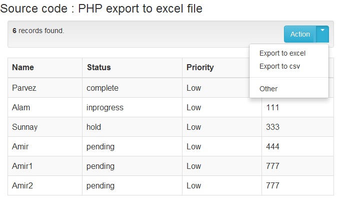 How to export data using php