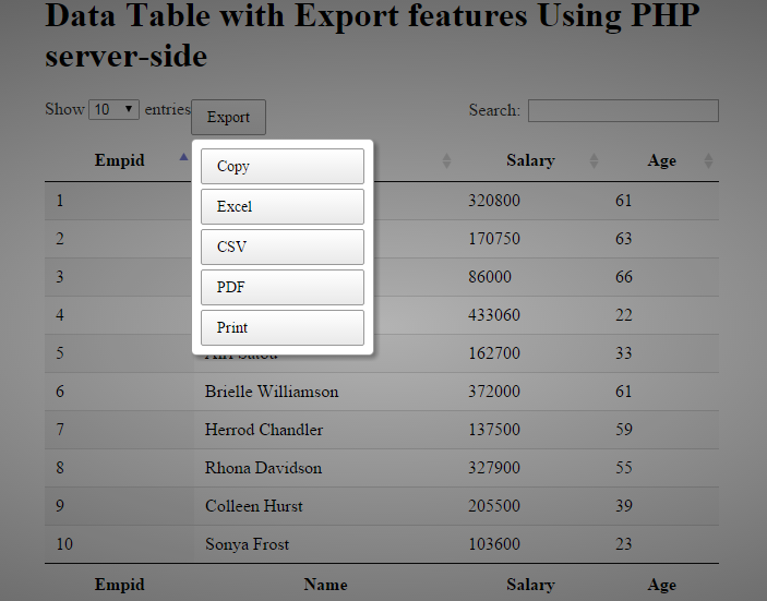 datatable-with-export-data