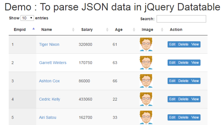 parse-json-data-jquery-datatable